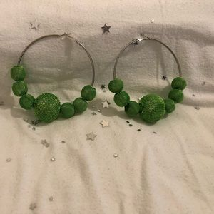 Jewelry - Silver Hoops (Green)